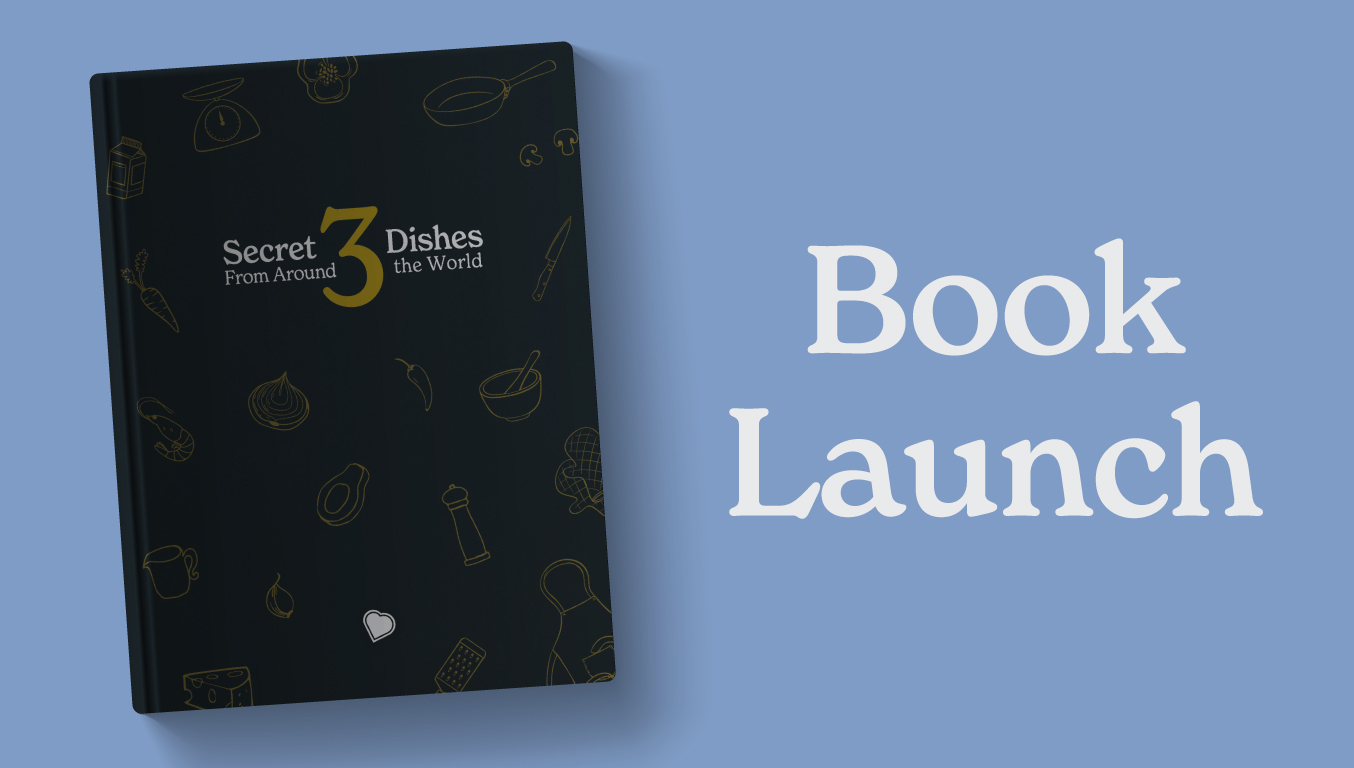 Book Launch banner with front cover of Secret Dishes From Around the World 3